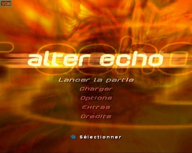 Image du menu du jeu Alter Echo sur Sony Playstation 2