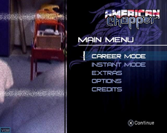 Image du menu du jeu American Chopper sur Sony Playstation 2
