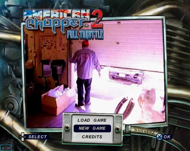 Image du menu du jeu American Chopper 2 - Full Throttle sur Sony Playstation 2