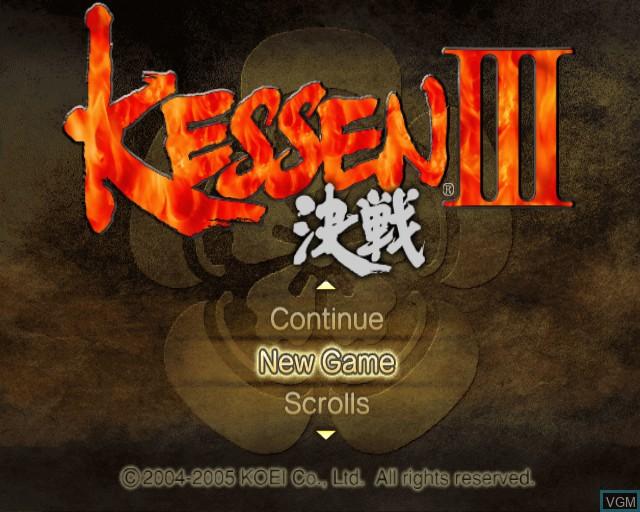 Image du menu du jeu Kessen III sur Sony Playstation 2
