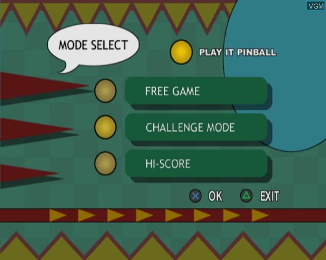 Image du menu du jeu Pinball sur Sony Playstation 2