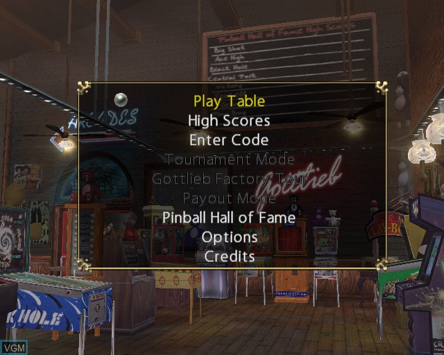 Image du menu du jeu Pinball Hall of Fame - The Gottlieb Collection sur Sony Playstation 2