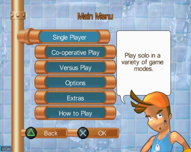 Image du menu du jeu Pipe Mania sur Sony Playstation 2