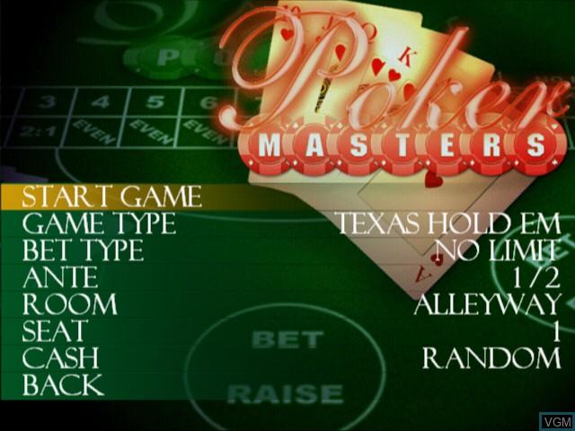 Image du menu du jeu Poker Masters sur Sony Playstation 2