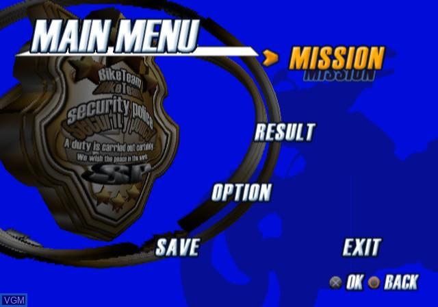 Image du menu du jeu Police Chase Down sur Sony Playstation 2
