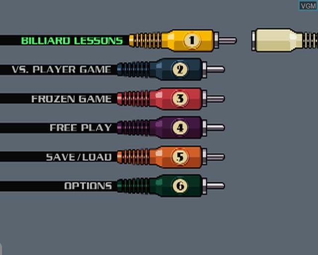 Image du menu du jeu Pool Master sur Sony Playstation 2