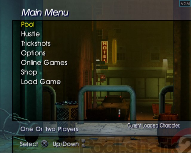 Image du menu du jeu Pool Shark 2 sur Sony Playstation 2