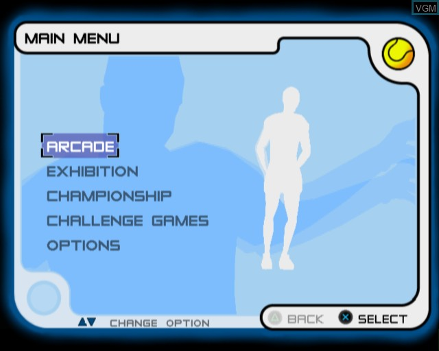 Image du menu du jeu Slam Tennis sur Sony Playstation 2