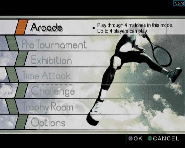 Image du menu du jeu Smash Court Tennis Pro Tournament sur Sony Playstation 2