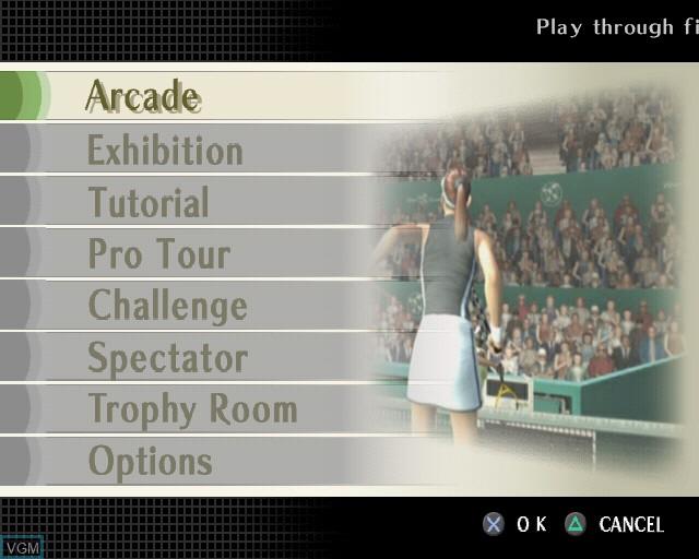 Image du menu du jeu Smash Court Tennis Pro Tournament 2 sur Sony Playstation 2