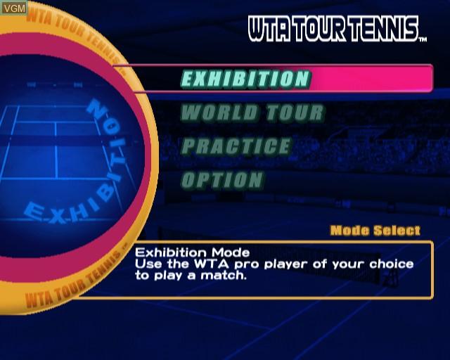 Image du menu du jeu WTA Tour Tennis sur Sony Playstation 2
