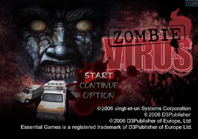 Image du menu du jeu Zombie Virus sur Sony Playstation 2