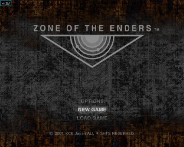 Image du menu du jeu Zone of the Enders sur Sony Playstation 2