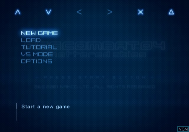 Image du menu du jeu Ace Combat 04 - Shattered Skies sur Sony Playstation 2