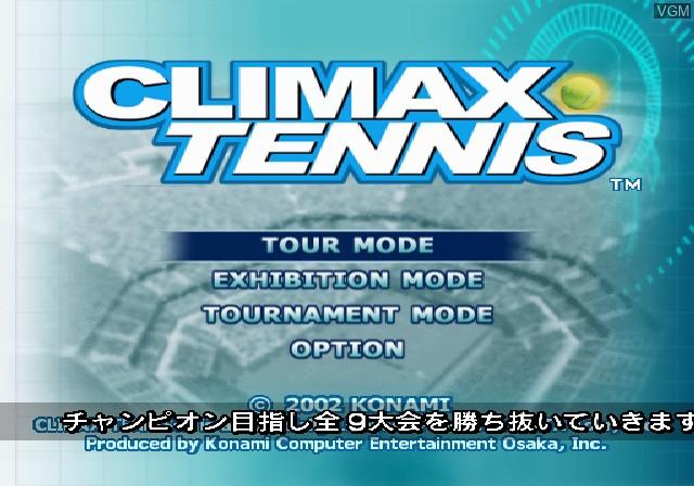 Image du menu du jeu Climax Tennis - WTA Tour Edition sur Sony Playstation 2