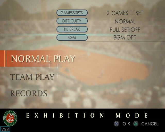 Image du menu du jeu Roland Garros 2005 - Powered by Smash Court Tennis sur Sony Playstation 2