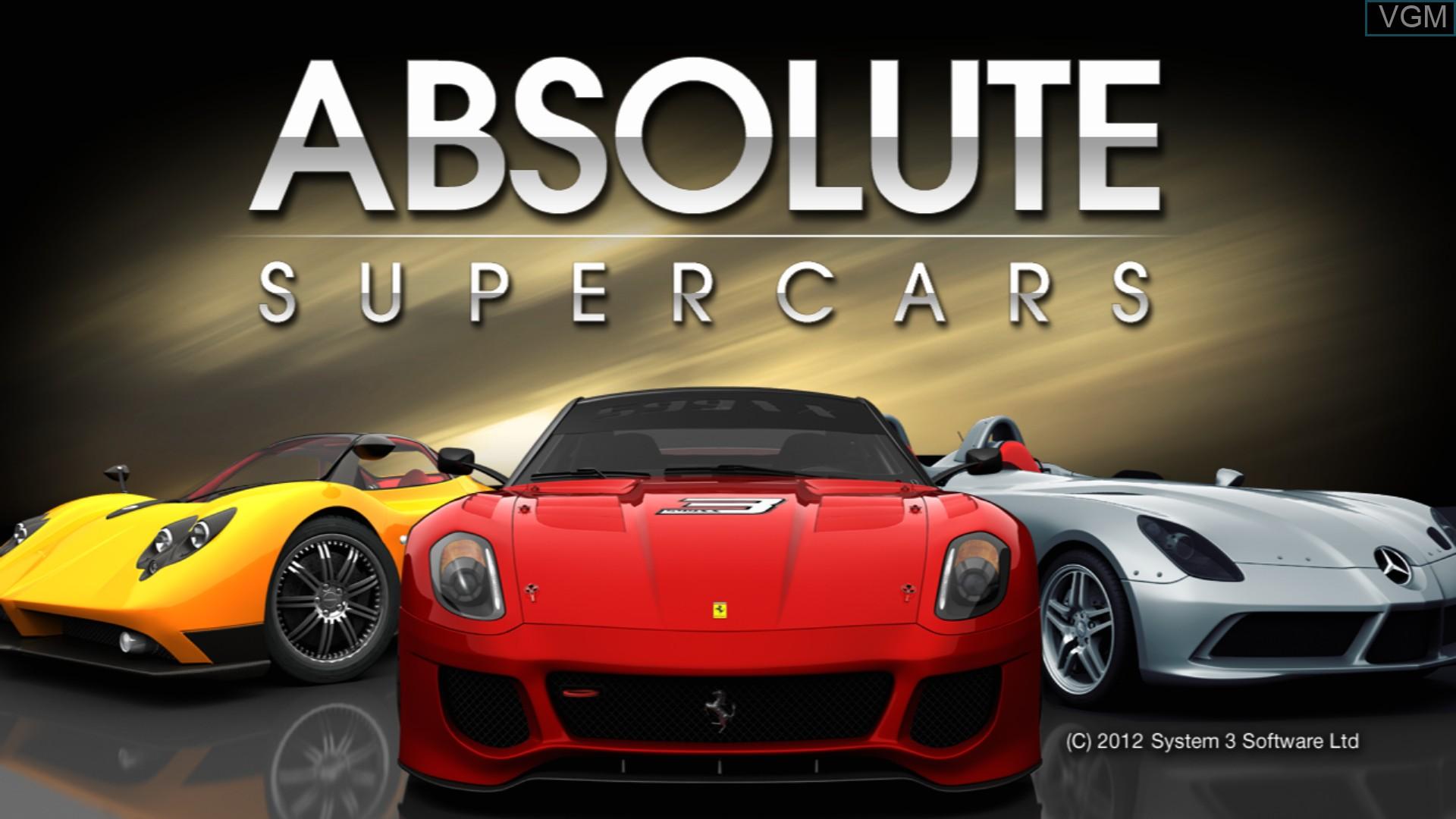 Image de l'ecran titre du jeu Absolute Supercars sur Sony Playstation 3