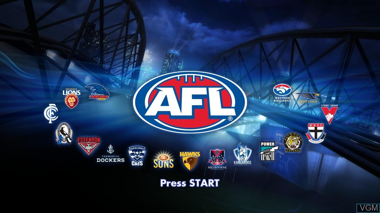 Image de l'ecran titre du jeu AFL Live sur Sony Playstation 3