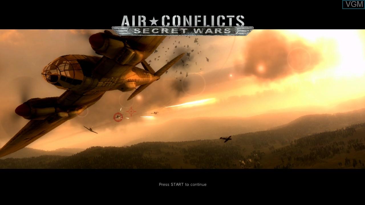 Image de l'ecran titre du jeu Air Conflicts - Secret Wars sur Sony Playstation 3
