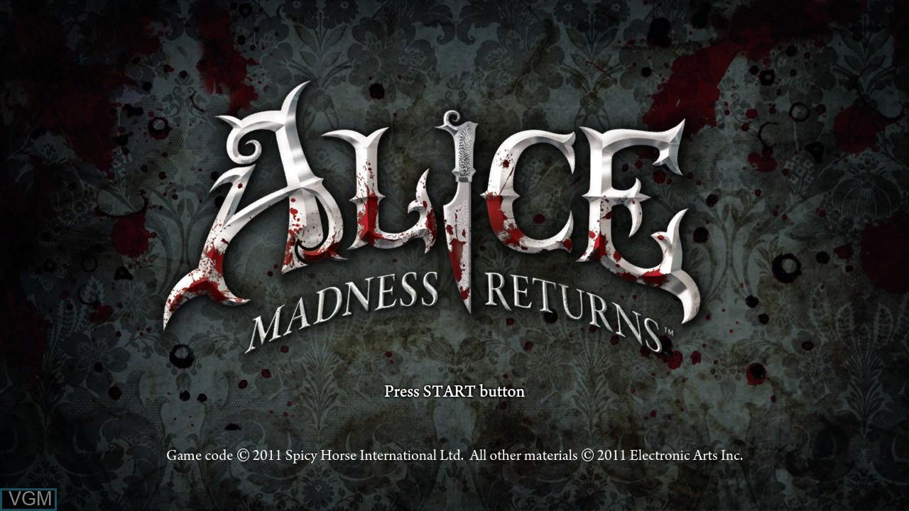 Image de l'ecran titre du jeu Alice - Madness Returns sur Sony Playstation 3