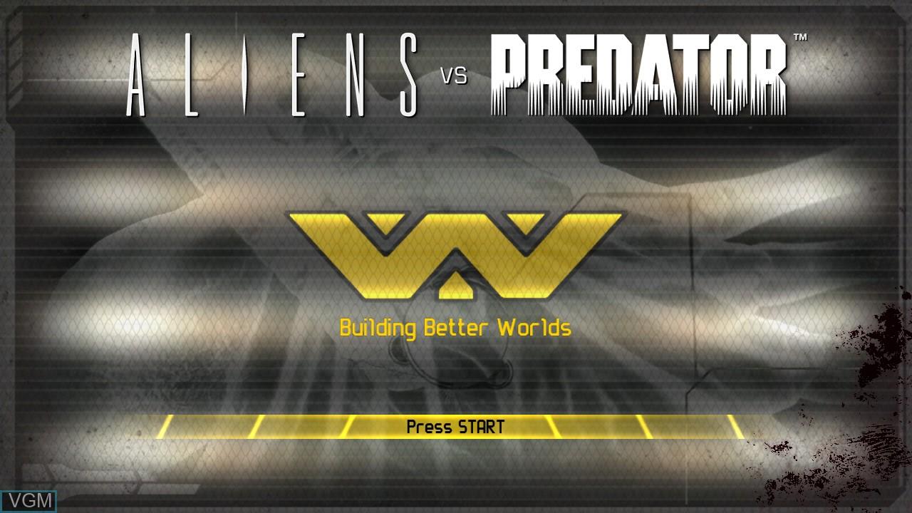 Image de l'ecran titre du jeu Aliens vs. Predator sur Sony Playstation 3