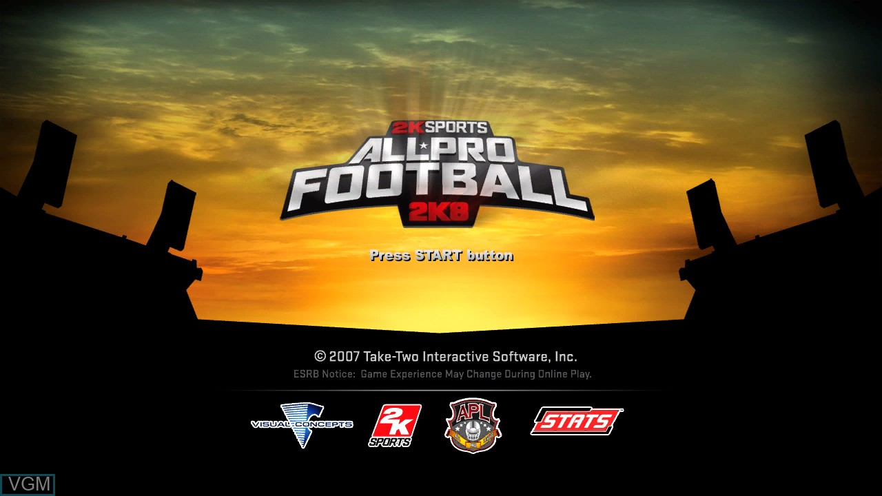 Image de l'ecran titre du jeu All-Pro Football 2K8 sur Sony Playstation 3