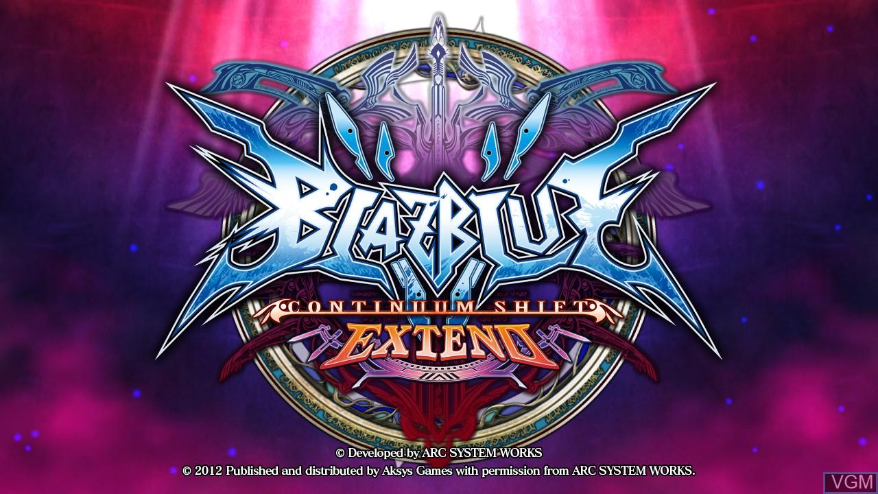 Image de l'ecran titre du jeu BlazBlue - Continuum Shift Extend sur Sony Playstation 3