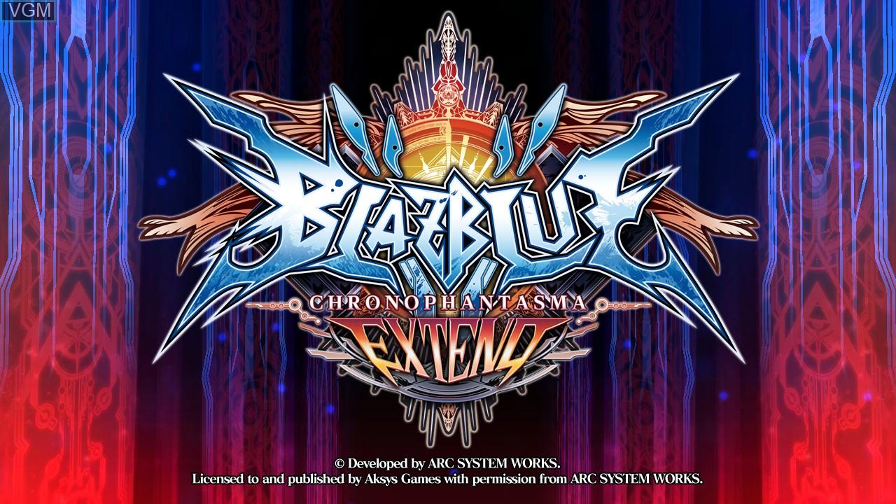 Image de l'ecran titre du jeu BlazBlue - Chrono Phantasma Extend sur Sony Playstation 3