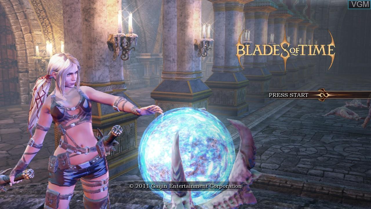 Image de l'ecran titre du jeu Blades of Time sur Sony Playstation 3