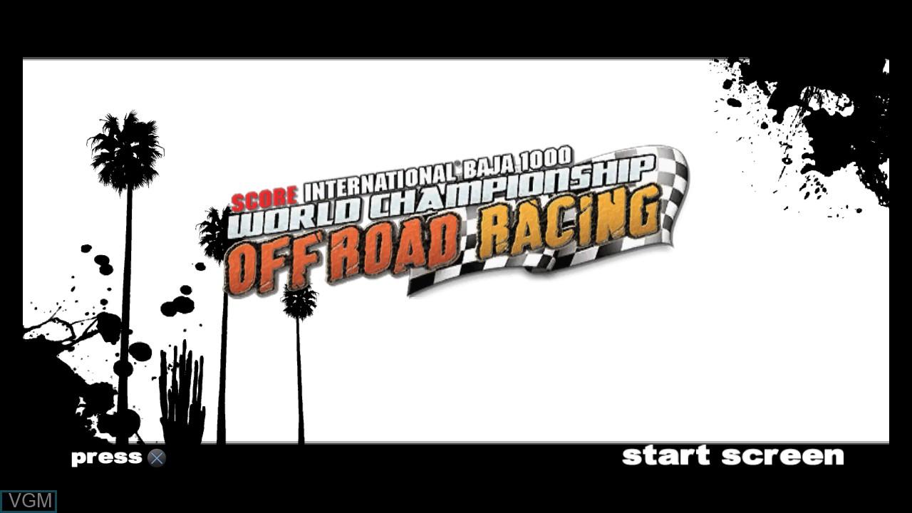 Image de l'ecran titre du jeu SCORE International Baja 1000 - World Championship Off Road Racing sur Sony Playstation 3
