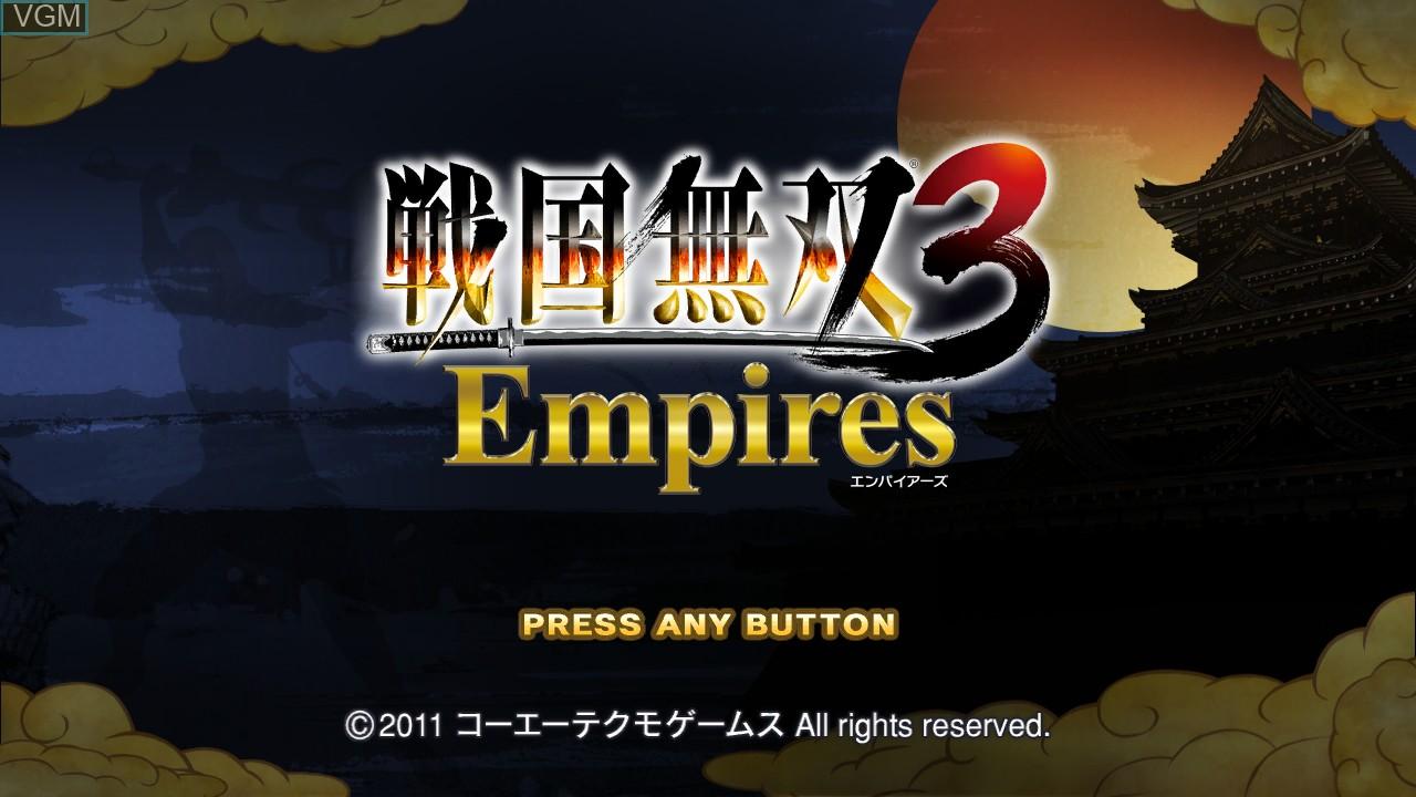 Image de l'ecran titre du jeu Sengoku Musou 3 Empires sur Sony Playstation 3