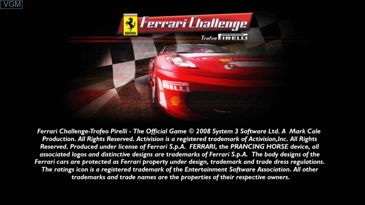 Image de l'ecran titre du jeu Ferrari Challenge Trofeo Pirelli sur Sony Playstation 3