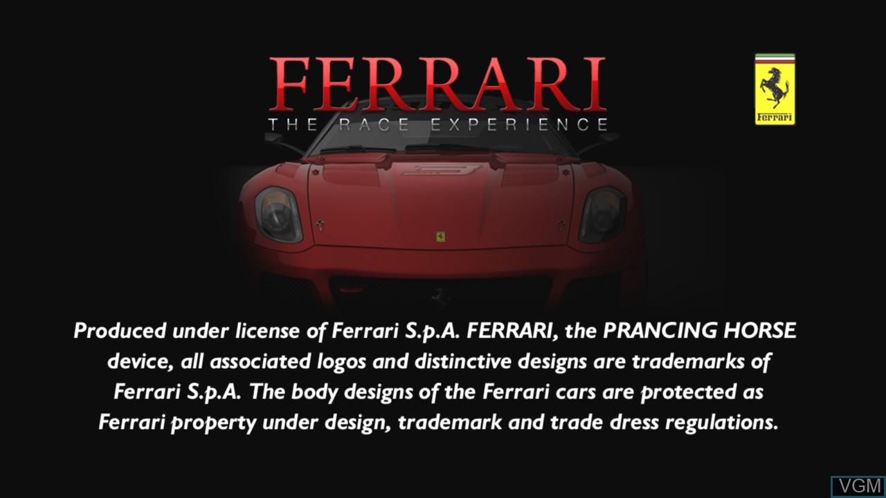Image de l'ecran titre du jeu Ferrari - The Race Experience sur Sony Playstation 3