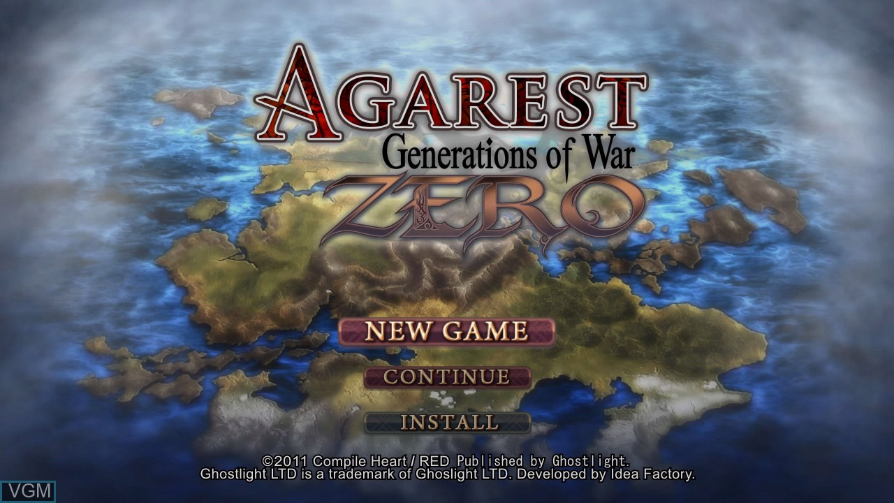 Image de l'ecran titre du jeu Agarest - Generations of War Zero sur Sony Playstation 3