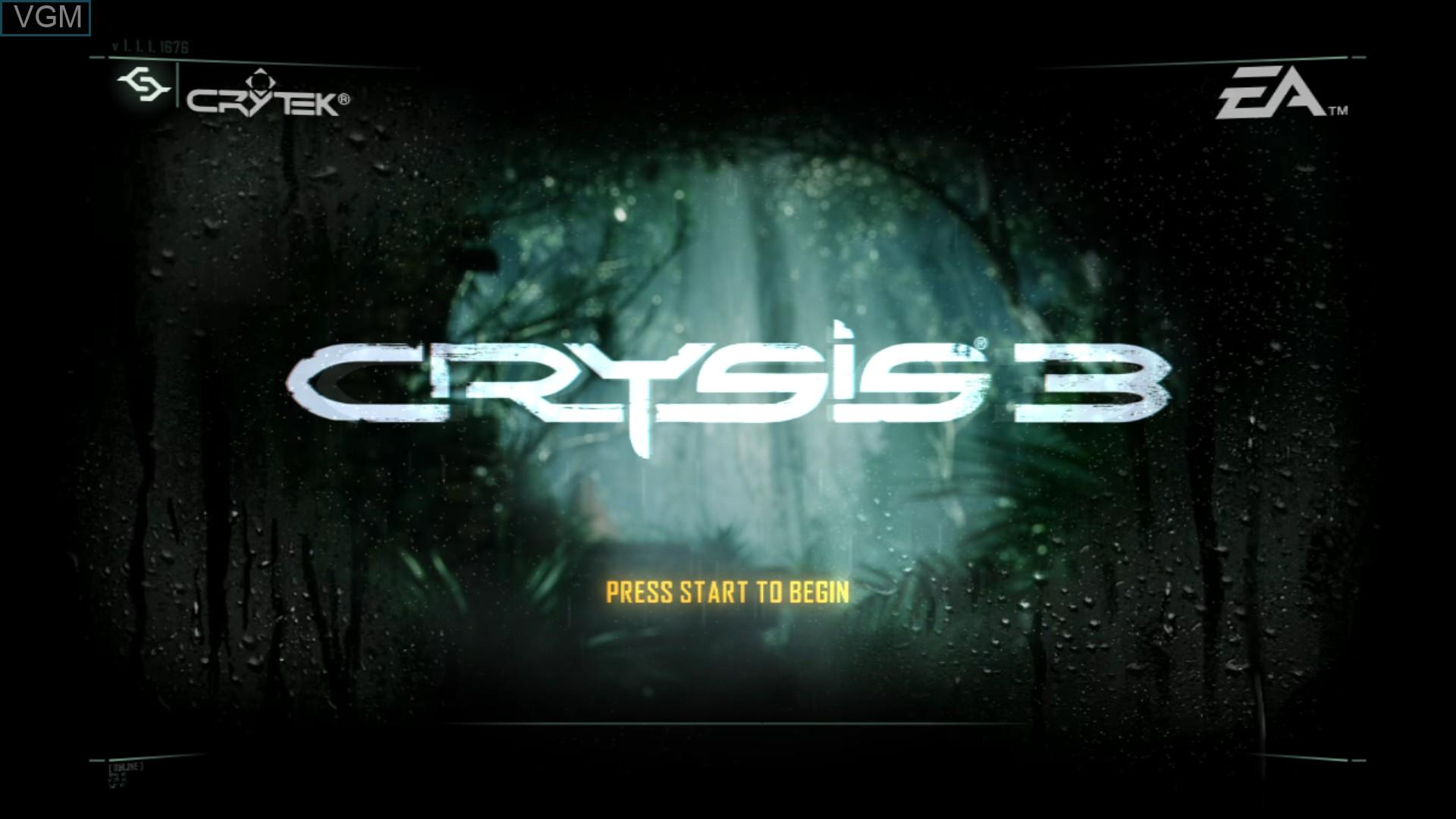 Image de l'ecran titre du jeu Crysis 3 sur Sony Playstation 3