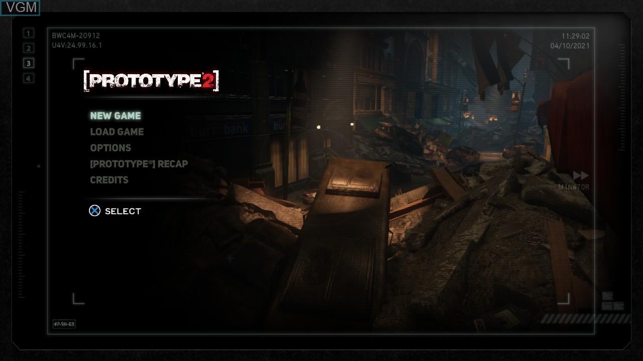Image de l'ecran titre du jeu Prototype 2 sur Sony Playstation 3