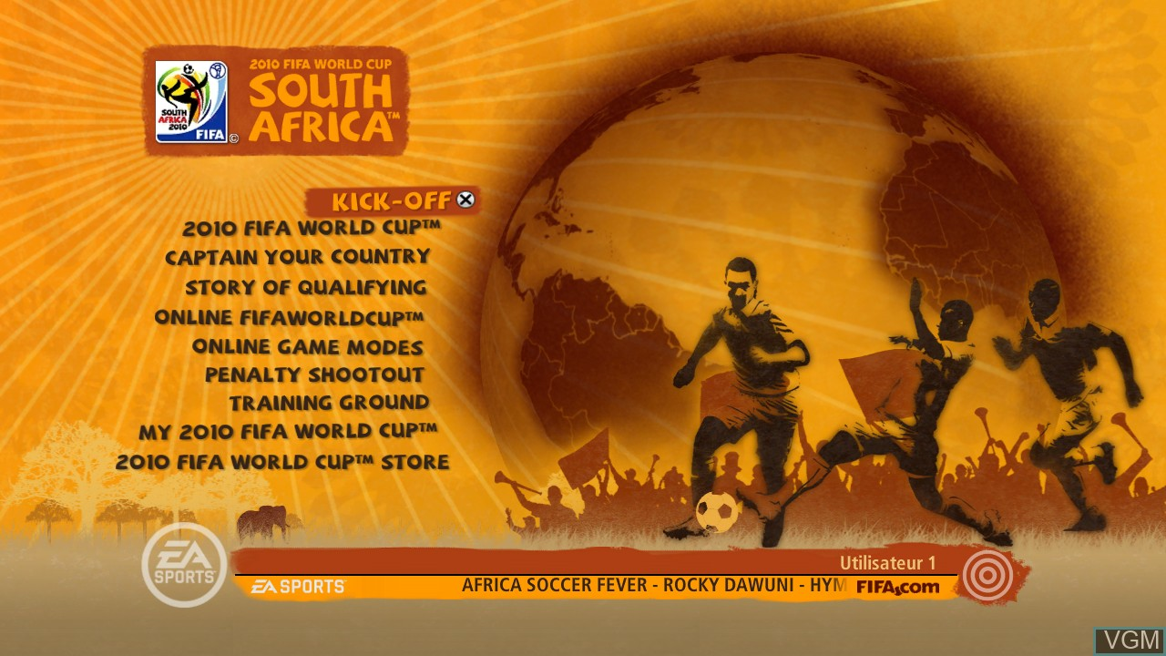 Image du menu du jeu 2010 FIFA World Cup South Africa sur Sony Playstation 3