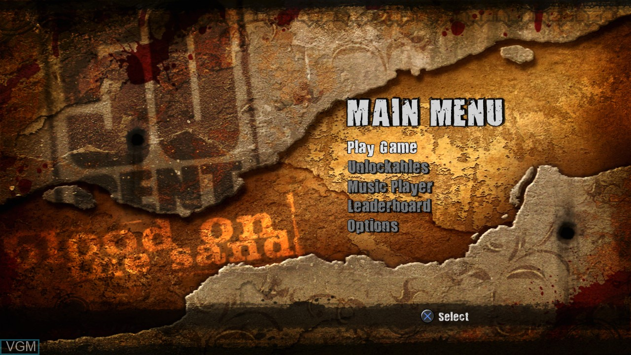 Image du menu du jeu 50 Cent - Blood on the Sand sur Sony Playstation 3