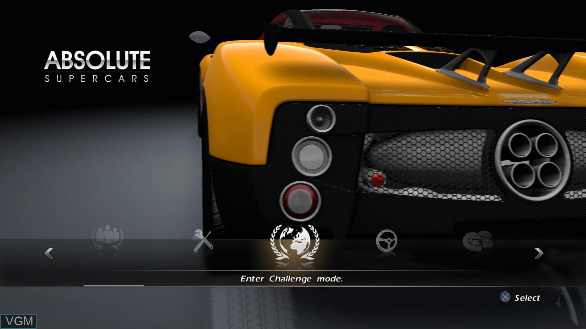 Image du menu du jeu Absolute Supercars sur Sony Playstation 3