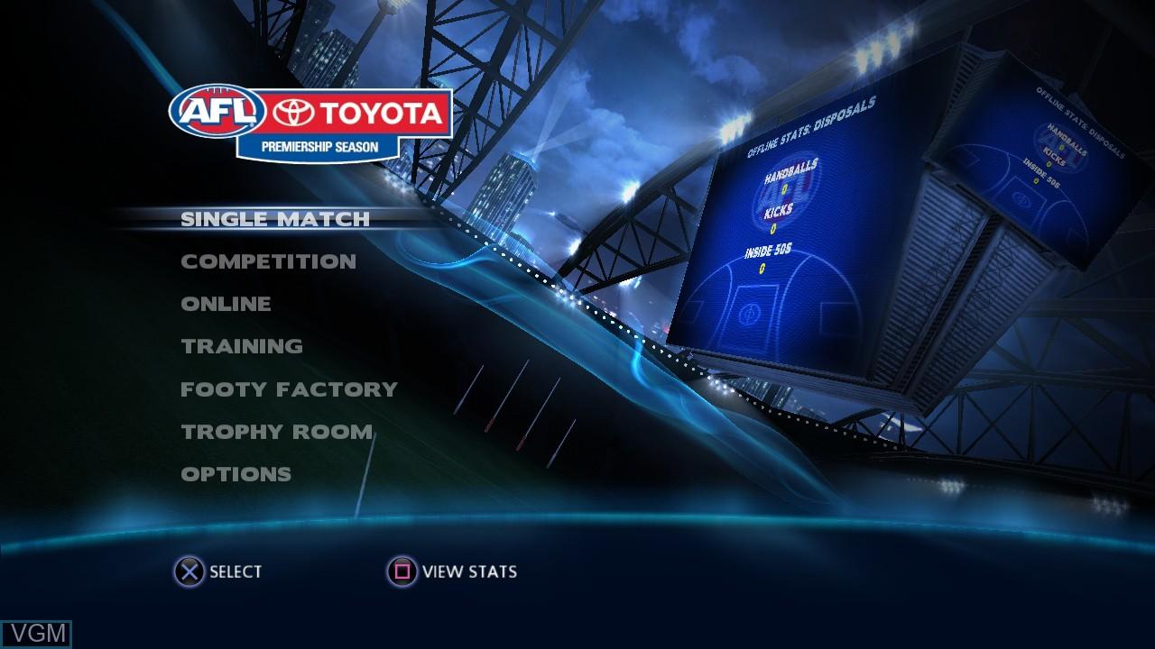 Image du menu du jeu AFL Live sur Sony Playstation 3