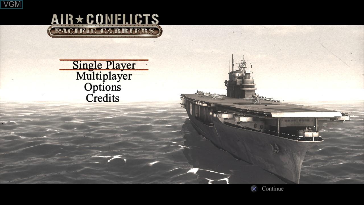 Image du menu du jeu Air Conflicts - Pacific Carriers sur Sony Playstation 3