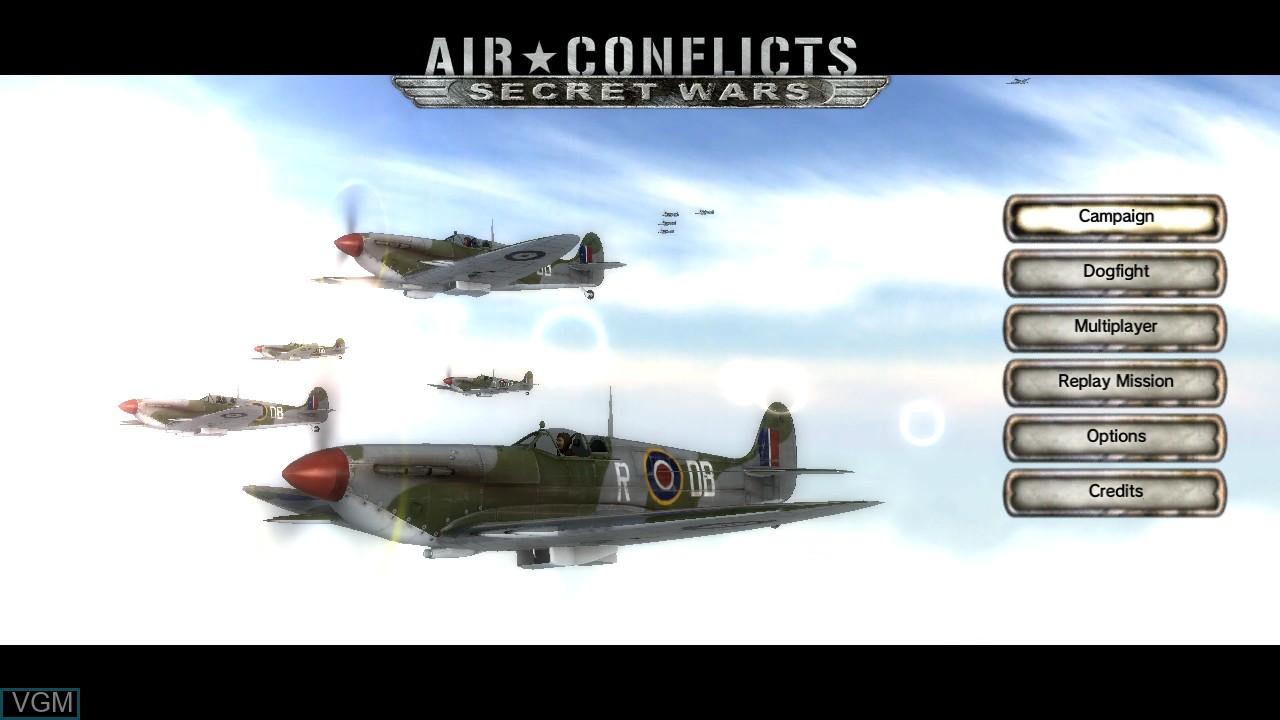 Image du menu du jeu Air Conflicts - Secret Wars sur Sony Playstation 3