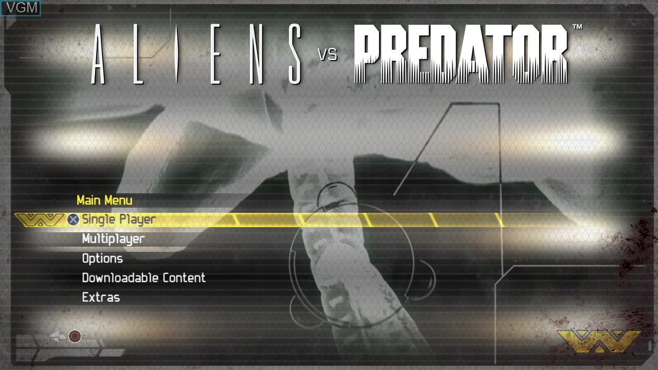 Image du menu du jeu Aliens vs. Predator sur Sony Playstation 3