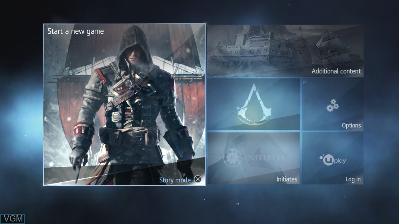 Image du menu du jeu Assassin's Creed Rogue sur Sony Playstation 3