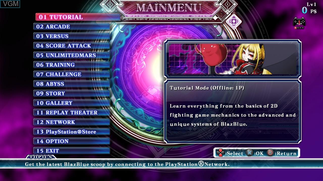 Image du menu du jeu BlazBlue - Continuum Shift Extend sur Sony Playstation 3