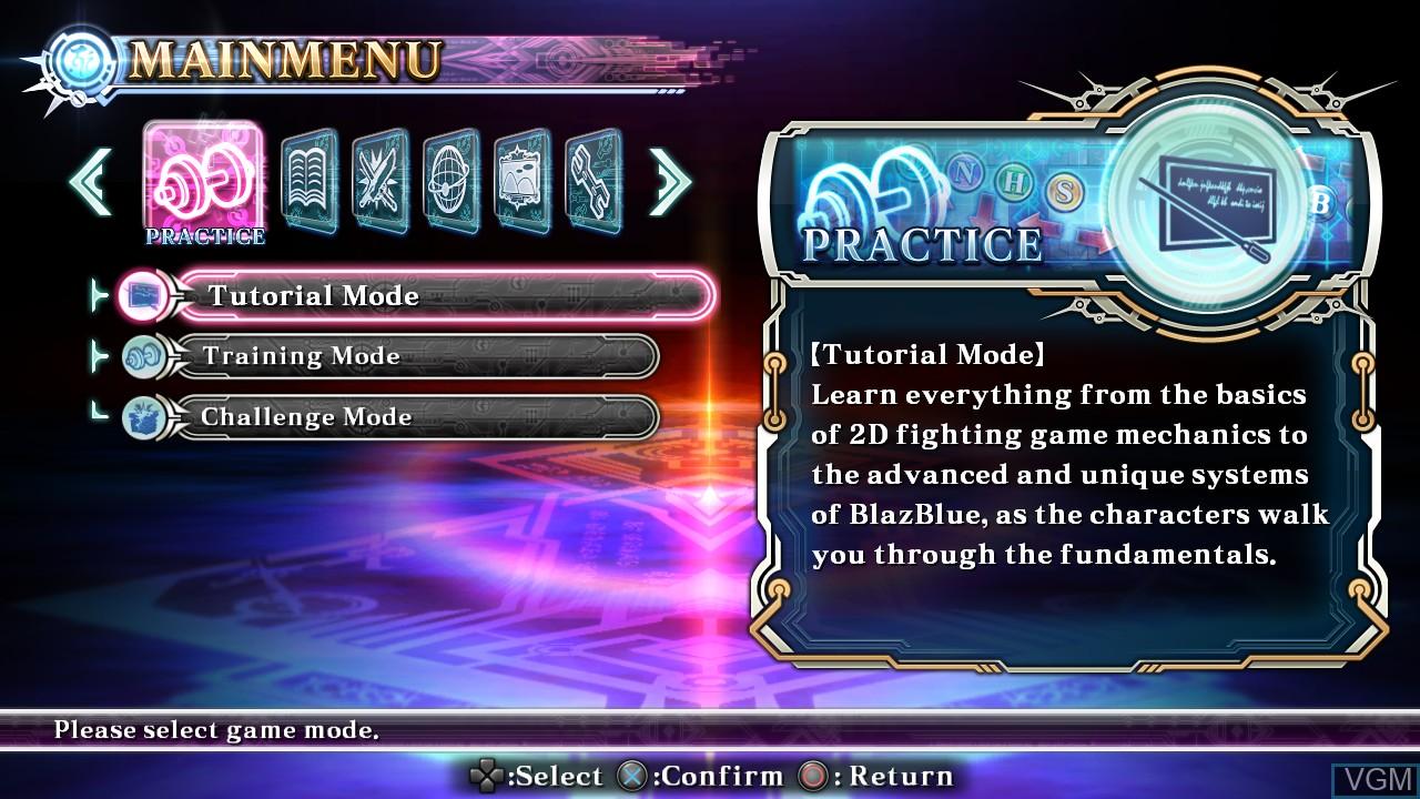 Image du menu du jeu BlazBlue - Chrono Phantasma Extend sur Sony Playstation 3