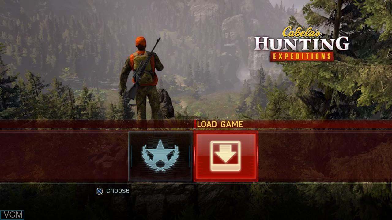 Image du menu du jeu Cabela's Hunting Expeditions sur Sony Playstation 3