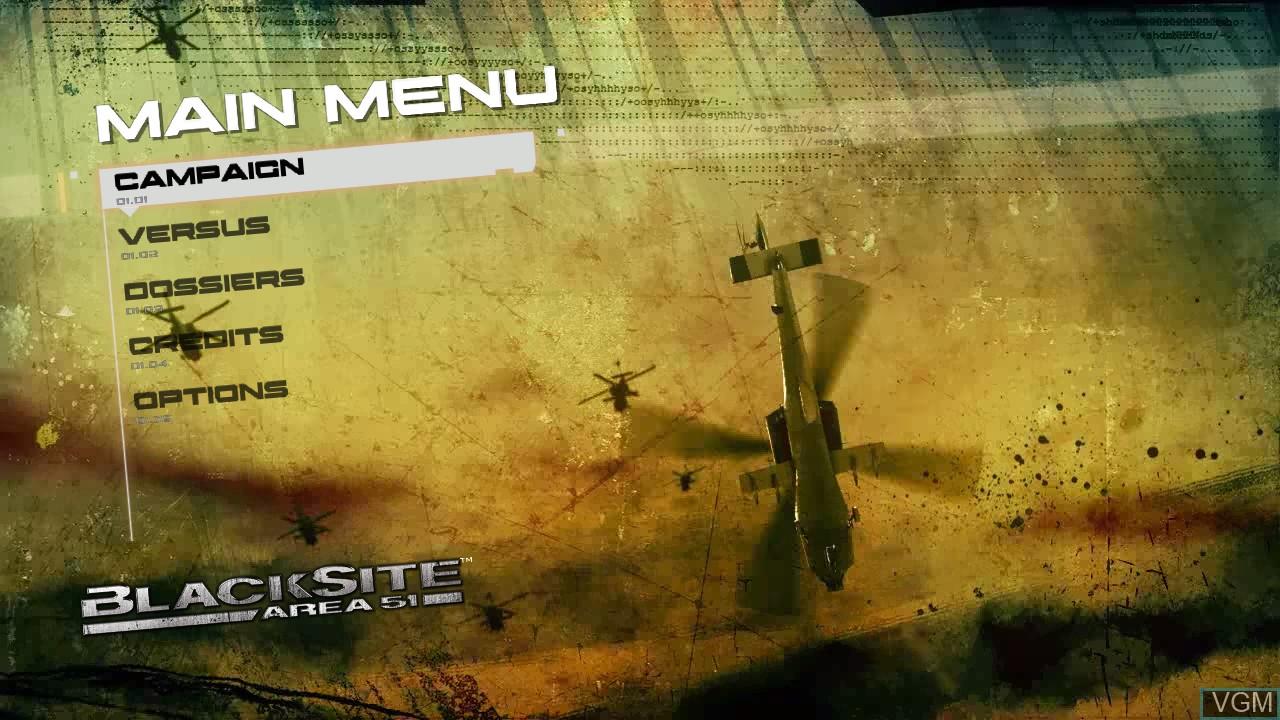 Image du menu du jeu BlackSite - Area 51 sur Sony Playstation 3
