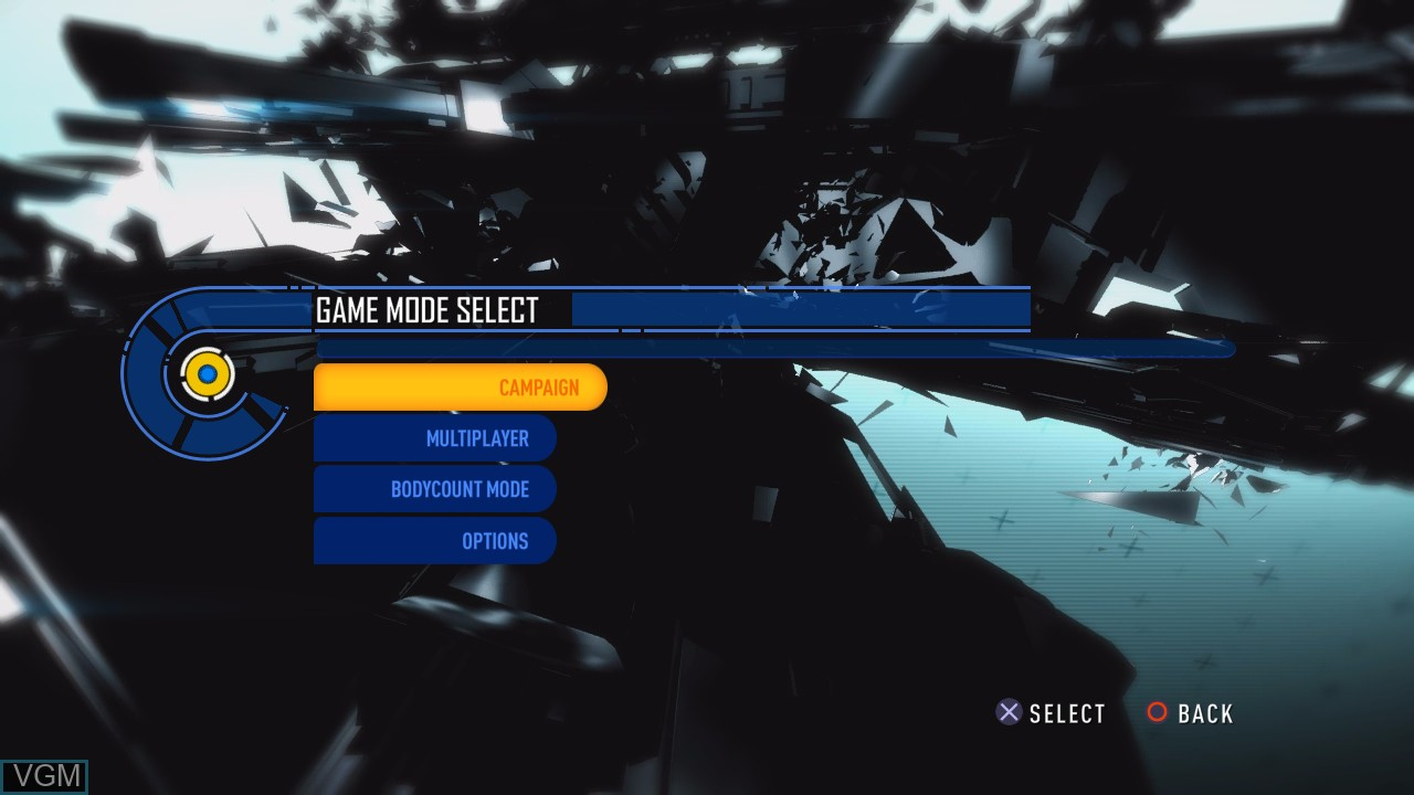 Image du menu du jeu Bodycount sur Sony Playstation 3