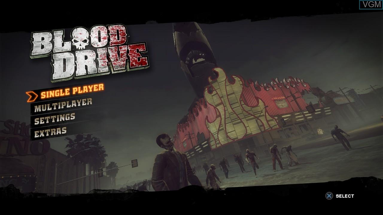 Image du menu du jeu Blood Drive sur Sony Playstation 3